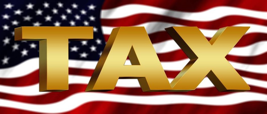 "American flag with ""TAXES"" superimposed"