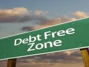 Debt free zone sign