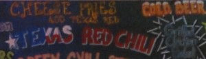 Texas red chili sign