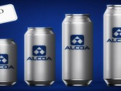 Aluminum cans with Alcoa printed on them